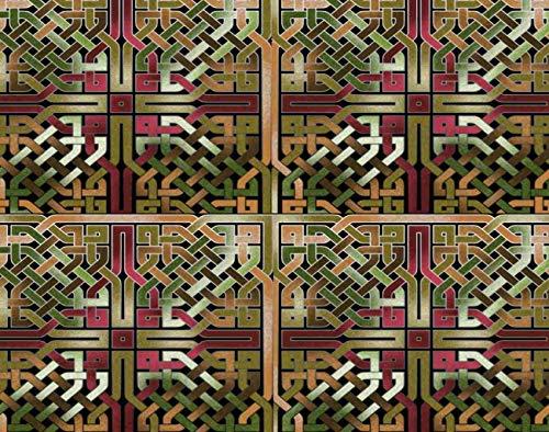 Qoalips 5D DIY Diamond Painting Kits, Earthtone and Gold Celtic Knot Sqare Tile Diamond Painting, Canvas Print Wall Art Full Drill Cross Stitch, 12x16 Inch