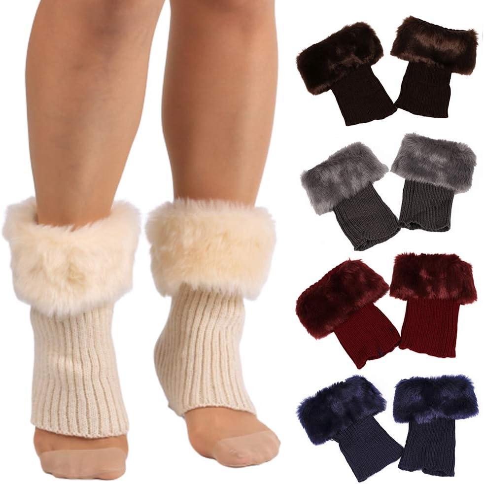preliked Leg Warmers for Women Girls, Winter Solid Color Faux Fur Cuff Crochet Knit Boots Sock Short Leg Warmers Black