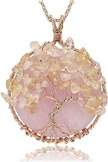 Jovivi Collana Ciondolo Albero della Vita in Pietra Gemma Naturale Preziosa Rame Vintage da Donna Regalo Confezione