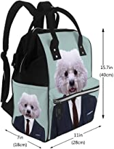 Baby Care Diaper Backpack Bichon Frise Dog Animal Dressed Up in Navy Blue Suit with Red Tie Business Man Diaper Bags Backpack