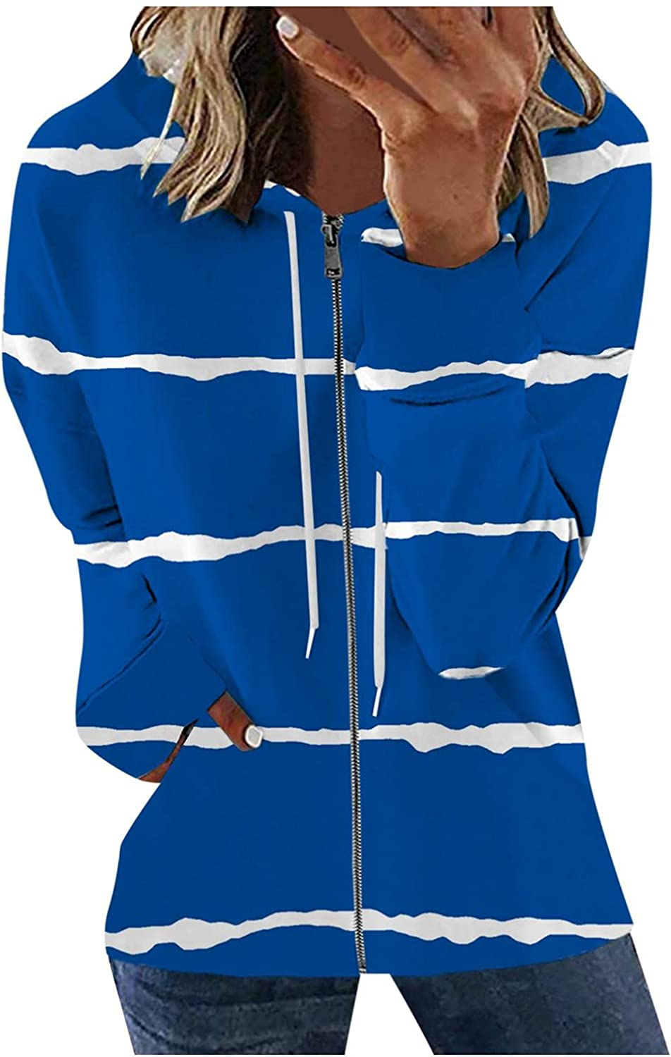 AODONG Womens Zip-Up Hoodie Long Sleeve Striped Lightweight Sweatshirt Pullover Casual Knit Tunic Jacket with Pockets
