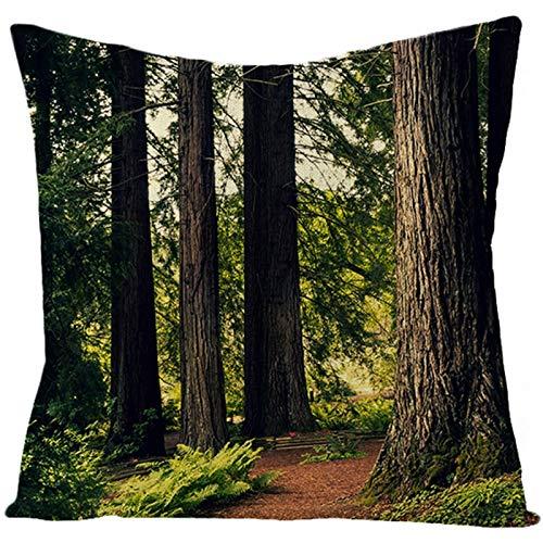 KnBoB Funda de Almohada Verde Bosque 45 x 45 cm Lino Estilo 32