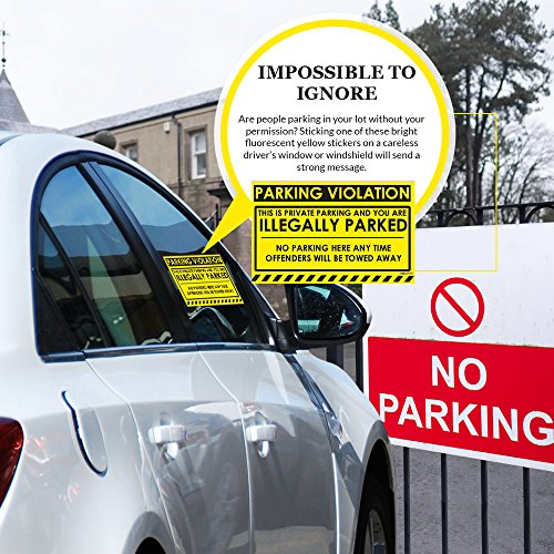 """No Parking Violation Stickers Hard to Remove (Yellow) 10-Pack Illegal Parking Warnings and Towing Tags for Illegally Parked Vehicles in Your Lot – Super Sticky Car Permit Notices 8"""" x 5"""" by MESS Photo #7"""