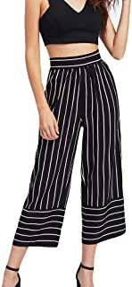 JOFOW Womens Wide Leg Pants Straight Vertical Striped High Waisted Casual Loose Slim Cropped Trousers