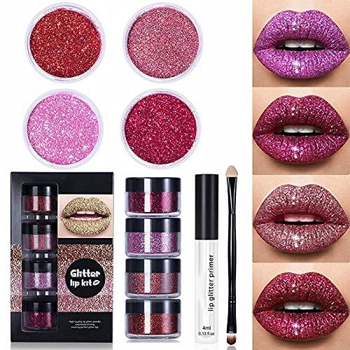 Glitter Lip Kit Stay Golden,Glitter Metallic Lipstick,Glitter Lips Glitter Lip Kit Waterproof & Smudge,Long Lasting Glitter Lipstick with Lip Primer and Brush (Warm Colors)