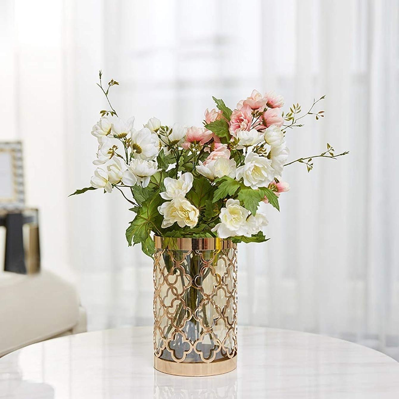 くすぐったい絶縁する中毒花瓶 ルームシミュレーションフラワーアレンジメントドライホームテレビキャビネットデコレーション花瓶メカニズムガラス工芸人工コレクション (Size : Large)