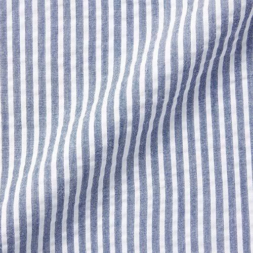 無印良品パジャマ脇に縫い目のないサッカー半袖パジャマ八分丈授乳仕様マタニティレディース82758535ブルー×ストライプM~L