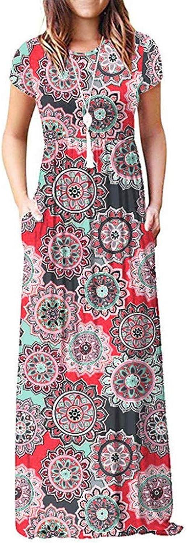 QWERTY Dress Women's Short Sleeve Flower Printed Long Dress Sundress
