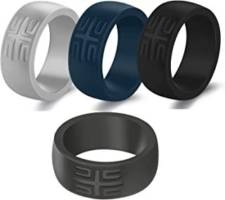 YesFit Silicone Wedding Ring for Men - 2019 Newest Men's Breathable Rubber Wedding Ring for Men, 1 Pack/ 2 Pack/ 4 Pack with Pure Color Thin Silicone Bands