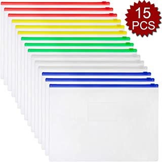 Officeship 225 PCS Plastic Clear Poly Zip Envelope File Folder Bags A4, Letter Size, Assorted Color