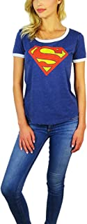 Womens Superman Burnout Ringer Tee