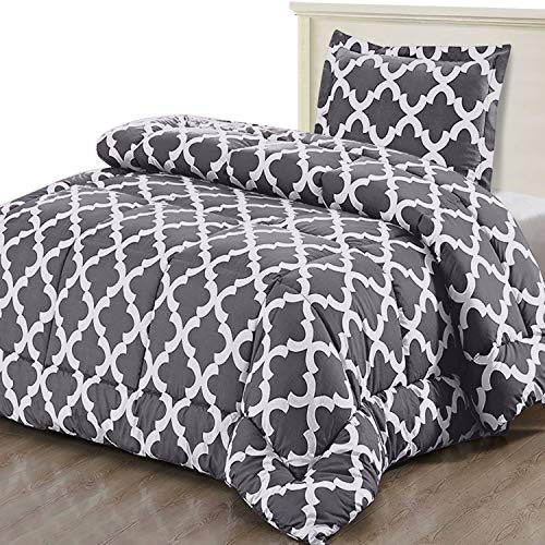 Utopia Bedding Printed Comforter Set (Twin/Twin XL, Grey) with 1 Pillow Sham - Luxurious Brushed Microfiber - Down Alternative Comforter - Soft and Comfortable - Machine Washable