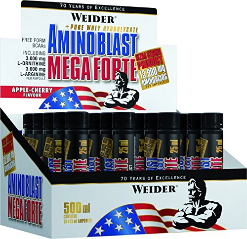 Weider Integratore Amino Blast Mega Forte - 500 ml, Mela Ciliegia