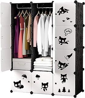 Zhicaikeji Garde-Robe Simple Penderie Portable Design Simple Noir Bricolage Armoires De Rangement Modulaire Vêtements Conv...
