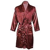 Octave - Kimono / robe / robe de chambre en satin de luxe imprimé d'été pour hommes -  Rouge -...