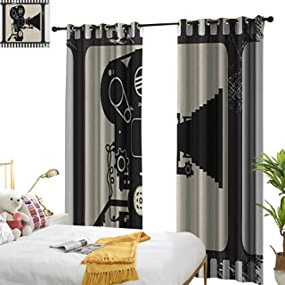 longbuyer Movie Theater Thermal Insulating Blackout Curtain Movie Frame Pattern with Silhouette of Movie Reels in a Projector W96 x L84,Suitable for Bedroom Living Room Study, etc.