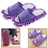 Itian 1 par - Las Slipper microfibra fregona - Generic casa piso pulido limpieza polvo pie calcetines calzado Mop Zapatillas (morado)