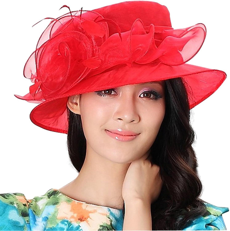 June's Young Women Hat Summer Women Organza Hat Ladies Sun Hat Beach Hat