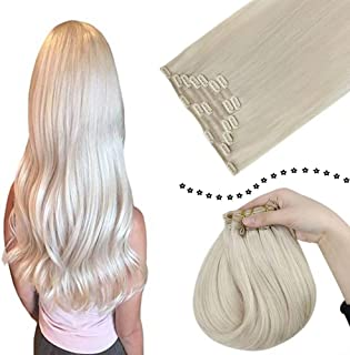 """[Surprise, 94.89] Easyouth Long 22"""" Blonde Extensions Clip in Human Hair #1000 White Blonde Double Weft Clip on Hair Extensions for Full Head, Straight Hair Extension for Women 120G 7 Pieces"""
