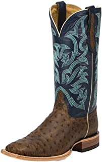 Justin Boots Company Mens AQHA Oiled Dark Full Quill Ostrich Cowboy Boots
