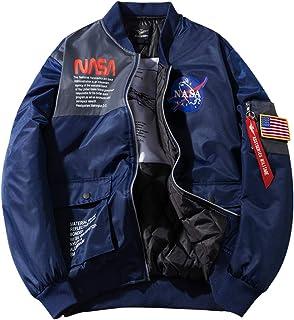 kaimimei Men's NASA MA-1 Flight Bomber Jacket Zipper Military Jacket Loose Baseball Jacket Fall Windbreaker with Pocket
