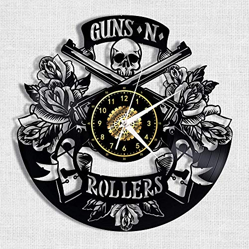 Menddy Guns Rollers Vinyl Record Reloj De Pared Led Luminoso Conmemorar Arte Hecho A Mano Decoración De Dormitorio Regalo con Luz Led De 12 Pulgadas