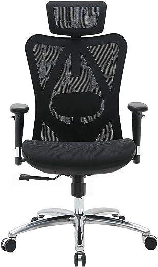 SIHOO Ergonomischer Bürostuhl, Chefsessel mit 3D verstellbare Armlehne und Lendenwirbelstütze, Hautfreundliche Netz-Hochlehne, Schreibtischstuhl…