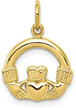 10k Yellow Gold Irish Claddagh Celtic Knot Pendant Charm Necklace Man Inspirational Luck Peace Support Fine Jewelry For Da...