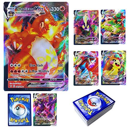 LSST - Carte Pokemon, Pokemon Flash, Pokemon GX, stile TCG Holo Game da collezionare, 60 pezzi (18 VMAX+42 V) per giochi per bambini, carte regalo