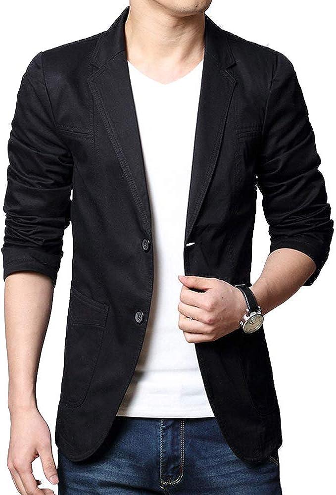 Men's Suit Jacket Slim Fit Cotton Blazer One Button Lightweight Casual Sports Coats