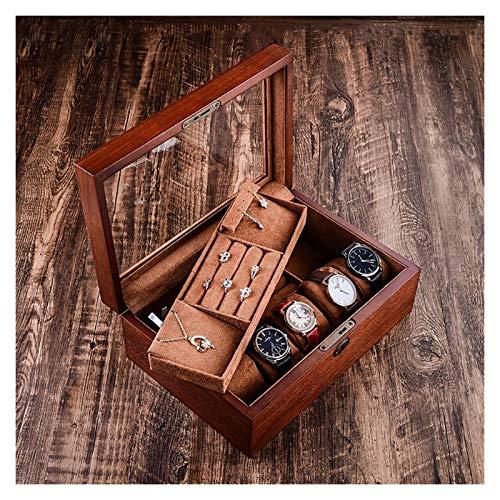 Watch Box Caja De Almacenamiento para Reloj Reloj Jewelry Box Organize con Bloqueo De Madera Reloj De Madera Caja De Exhibición De Joyas, Caja De Almacenamiento Vintage Hombres Accesorios Organizador