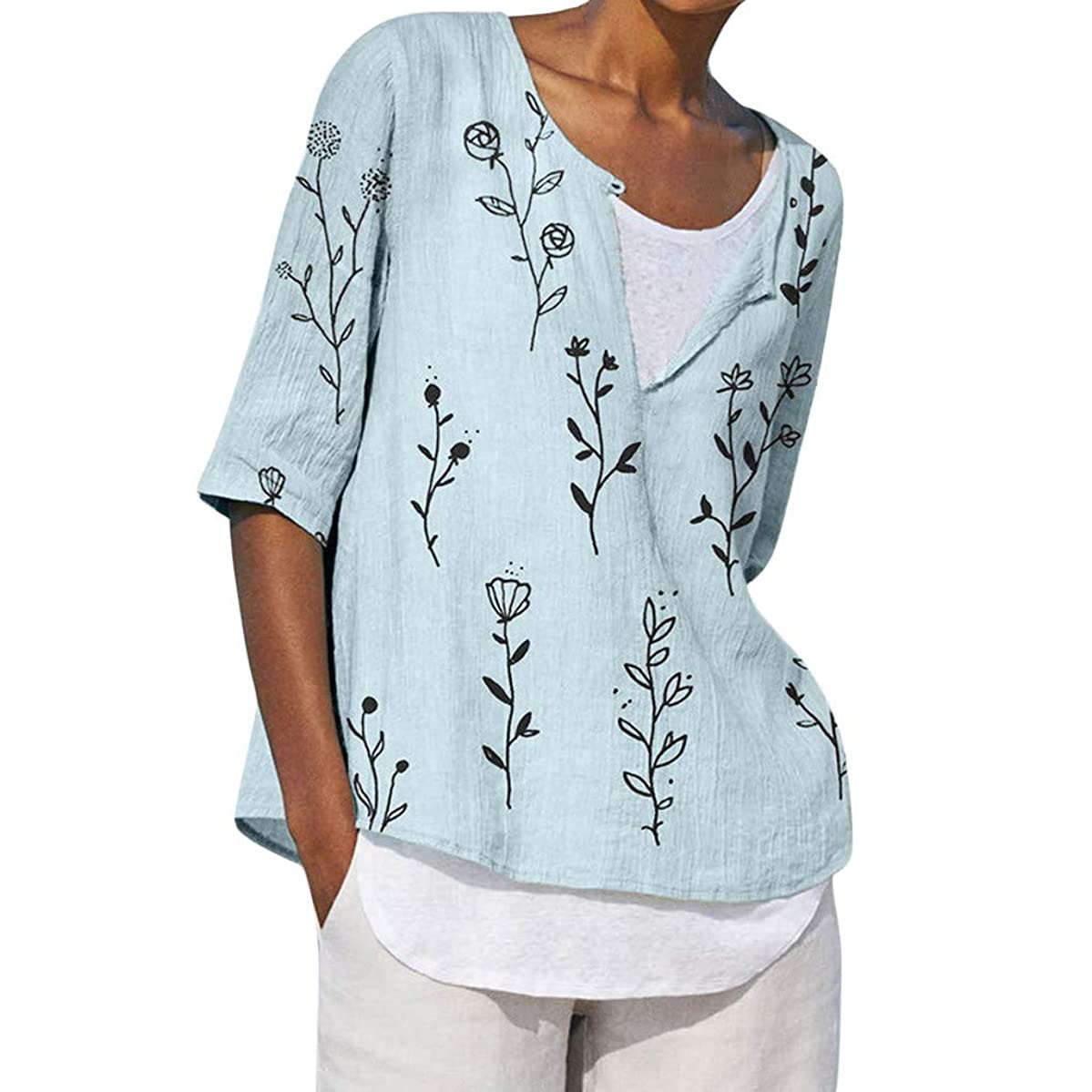 New in Respctful?Plus Size Linen Womens Summer V-Neck Tropical Hawaiian V Nevk Short Sleeve Tops