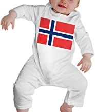 A1BY-5US Infant Baby Girls Cotton Long Sleeve Norway Flag Climb Jumpsuit One-Piece Romper Clothes