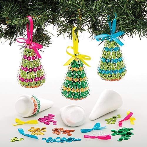 Baker Ross Christbaumschmuck Bastelset mit Pailletten (3 Stück) Weihnachtsbaumschmuck Basteln für Kinder