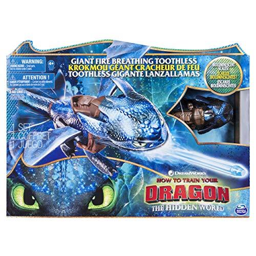 Dragons 6045436 - Movie Line - Fire Breathing Toothless (Ohnezahn) - Actionfigur mit Drachenatem, Drachenzähmen leicht gemacht 3, Die geheime Welt