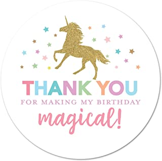 40 cnt Faux Gold Glitter Unicorn Thank You Stickers - Not Real Glitter