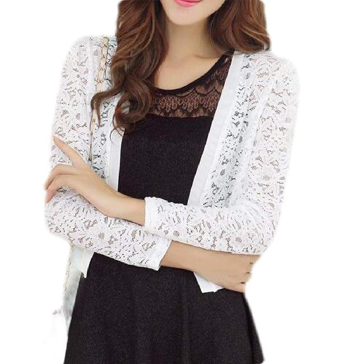 X-Future Women Crochet Lace Short Sleeve Bolero Shrug Cardigan Jacket