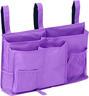 Sugaroom Bedside Storage Caddy, Bunk Bed Organizer Bed Storage Pocket Bedside Organizer Hanging Bed Storage Caddy for College Dorm Room, Hospital Bed Rails, Baby Bed, Camp (Purple)