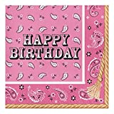 Creative Converting 317380 16 Count Paper Lunch Napkins, Happy Birthday, Pink Bandana Cowgirl
