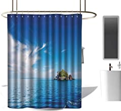 coolteey Shower Curtains for Bathroom African American Island,Small Island in Trat Archipelago,Thailand Reef Rock Diving Trip Sunny Day Landscape,Blue Green,W48 x L84,Shower Curtain for Kids