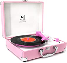 Record Player, MPK Portable Mini Suitcase Turntable for 7 Inch Vinyl Record, Belt-Drive 2-Speed Turntable with Built in Stereo Speaker (Pink)