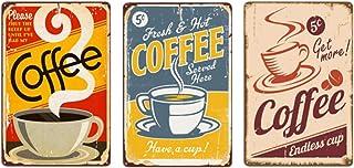 3 قطع من جيرنيك علامة حديدية قديمة من القصدير بطراز قديم بلون القهوة بدون اطار لوحة فنية للتعليق على الحائط ديكور للمطاعم ...