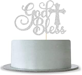 God Bless Cake Topper Silver Glitter First Communion Decorations Bless This Child