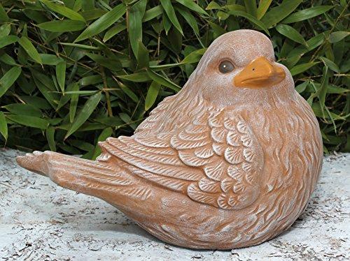 Tiefes Kunsthandwerk Steinfigur Vogel Terrakotta, Deko Figur Garten Stein Frostsicher