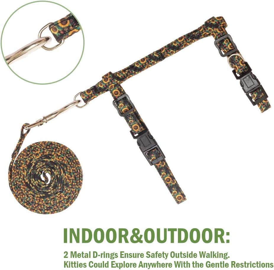 SCIROKKO Cat Harness with Leash Set - Cute Fabric with Sunflower Pattern - Escape Proof and Adjustable for Walking Black