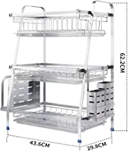 Kitchen Storage Rack 304 Stainless Steel Dish | Three-Tier with Water Tray for Kitchen, Storage