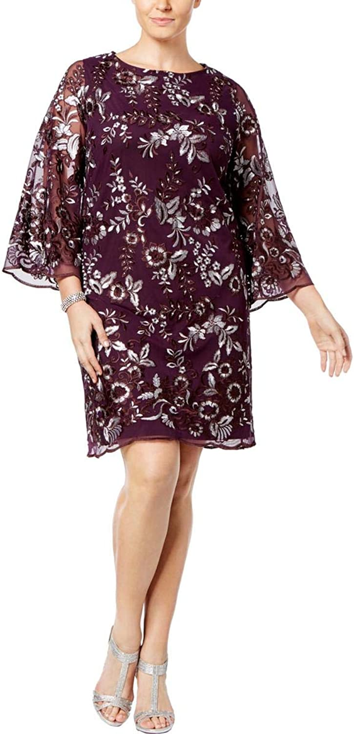 Charter Club Plus Size Embroidered Mesh Shift Dress