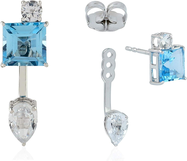 Sapphire Ear Jackets Earrings 18k White Gold Topaz Jewelry
