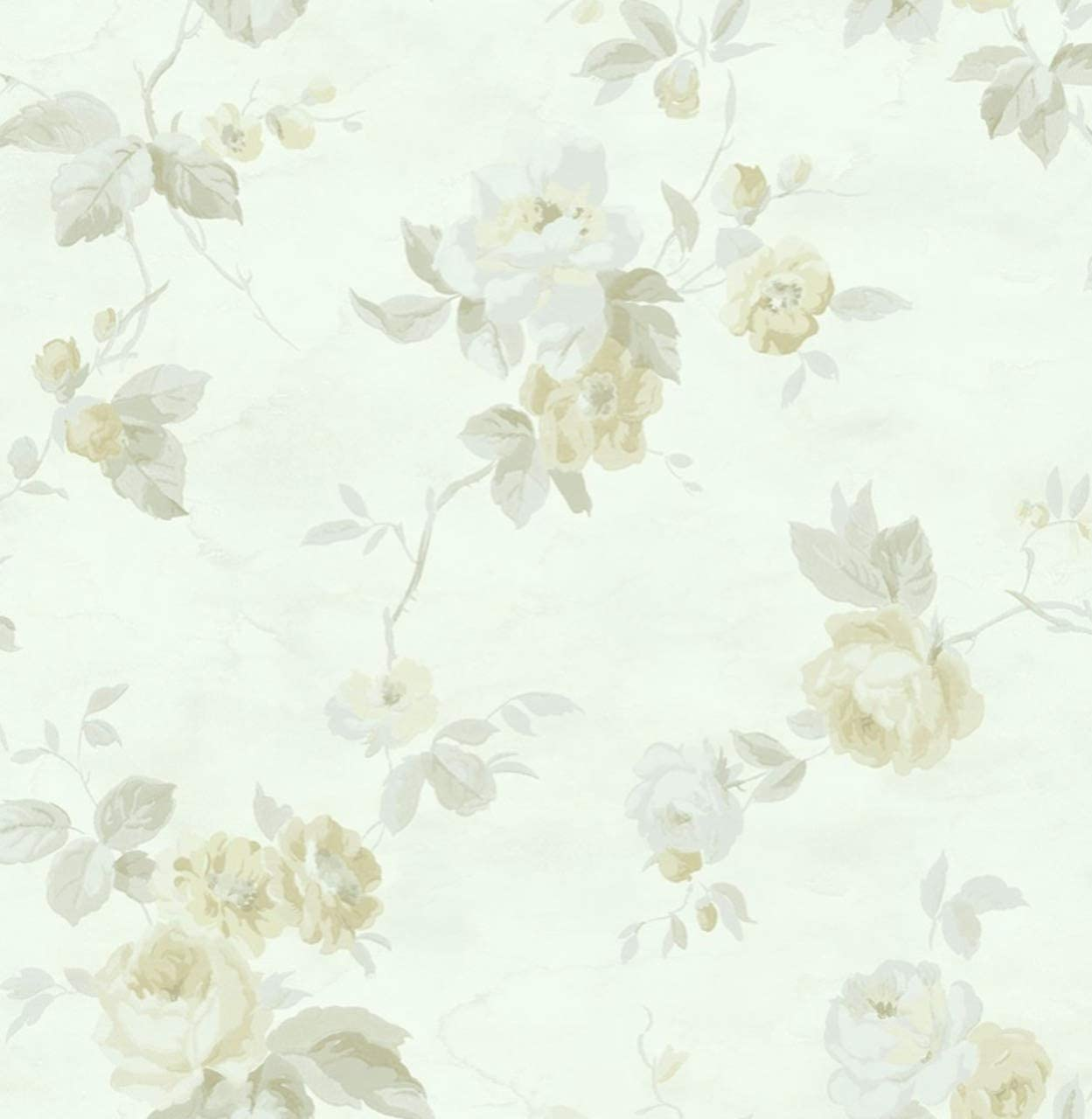 Victorian Floral Yellow Wallpaper Cream Vintage Damask Flowers Roses Blossoms Yellow Cream Green Amazon Com