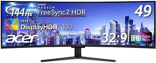 Acer 49インチ湾曲液晶ウルトラワイドモニター EI491CRPbmiiipx VA/非光沢/3840x1080/32:9/400cd/4ms/HDR/HDMI